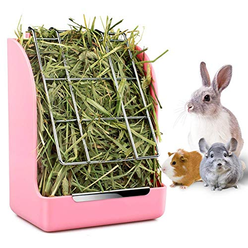 DOUDOU Rabbit Hay Feeder Rack, Mess-Free Food Dispenser, Keeps Hay, Alfalfa and Other Grasses Dry, Ideal for Guinea Pigs, Chinchillas and Hamsters