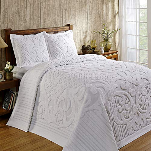 Better Trends Ashton Collection in Medallion Design 100% Cotton Tufted Chenille, Queen Bedspread, White