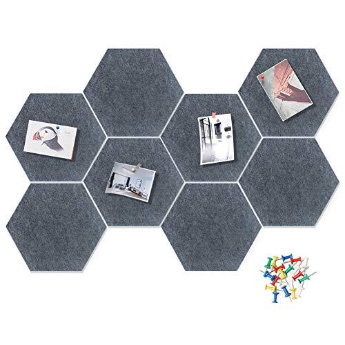 HyFanStr Tablero de anuncios de fieltro gris con 20 chinchetas, tablero de anuncios de pared hexagonal, tablero de anuncios con 20 chinchetas, tablero decorativo para oficina y dormitorios
