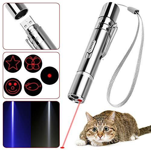 Voqeen Mascota Gato Gatito Juguete Interactivo de Entrenamiento para Gatos, USB Recargable, luz roja LED Puntero Bolígrafo Stick-Pet Gato Atrapar Juguetes