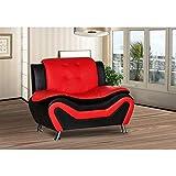 US Pride Furniture Arul Tufted Modern Club Chair Red
