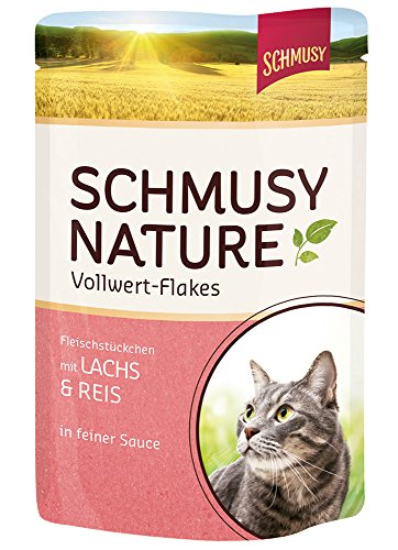 Schmusy Nature Vollwert-Flakes Lachs & Reis, 22er Pack (22 x 100 g)