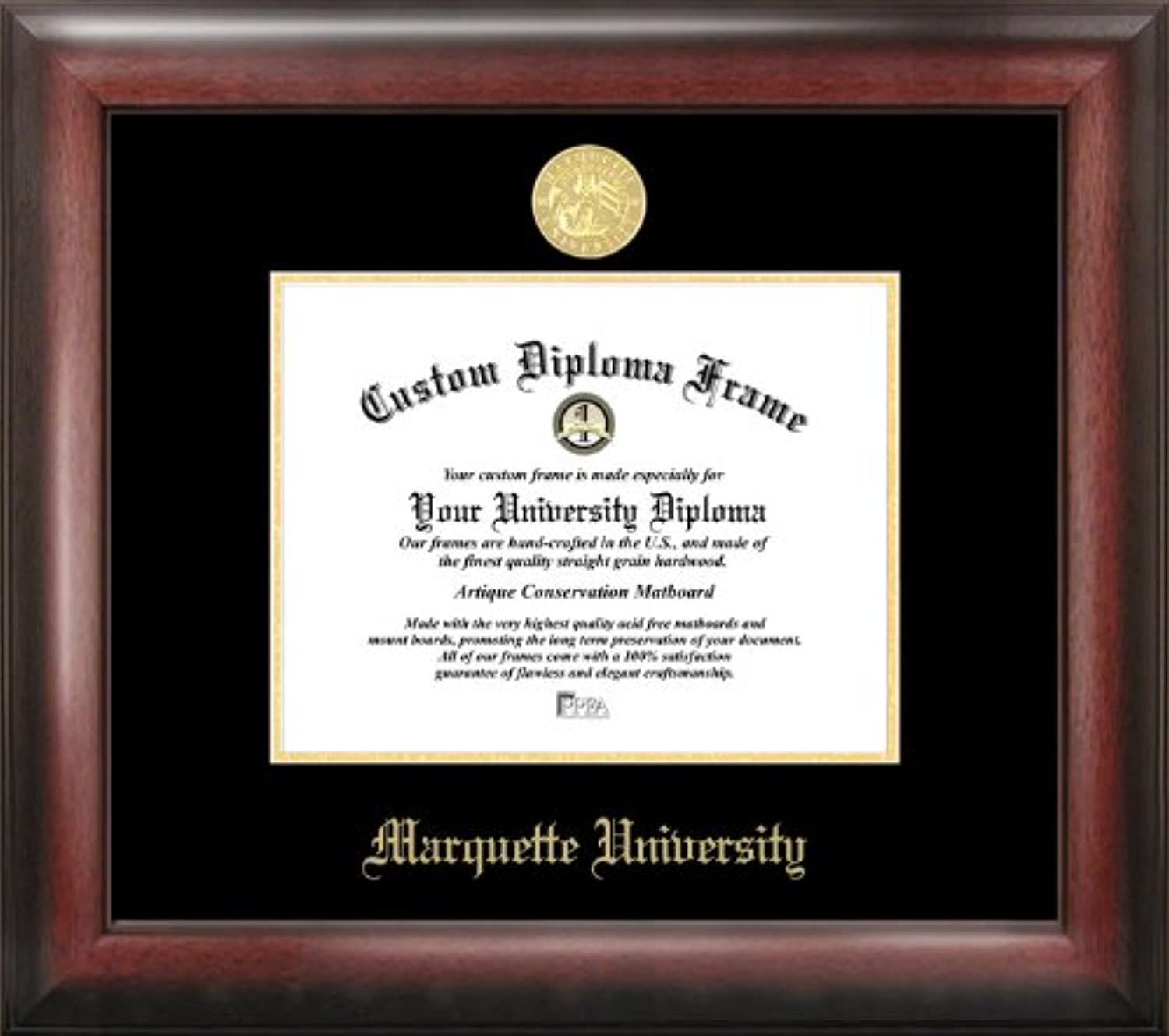 Campus Images WI999GED Marquette University Embossed Diploma Frame, 9  x 12 , gold