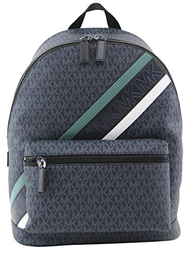 Michael Kors Men's Cooper Logo Backpack in Navy and Fade Mint, Style 37U0LCOB2B.