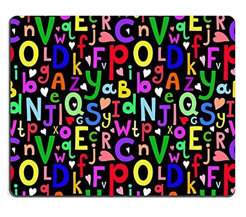 Hokdny Mousepad Vector de Patrones sin Fisuras con Letras Latinas de Diferentes tamaños sobre Fondo Oscuro en una ilustración Infantil de Estilo de Dibujos Animados