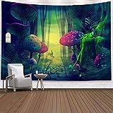 タペストリートリッピー人気の手工芸品、サイケデリックな抽象的なキノコの森のタペストリー壁掛けヒッピーの壁のタペストリーのレトロな奇抜なビーチタオルタペストリータペストリーのベッドルーム、リビングルーム、 150 x 130 cm