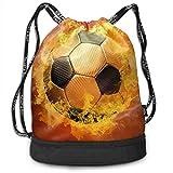 OKIJH Mochila Mochila de Ocio Mochila con cordón Mochila Multifuncional Bolsa de Gimnasio Gymsack Drawstring Bag Sackpack Burning Football Sport Cinch Pack Simple Bundle Pocke Backpack For Men Women