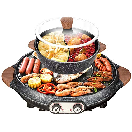 LOVEHOUGE Electric BBQ Hot Pot,Multifunctional Hot Pot Electric Shabu Grill BBQ,2 in 1 Electric Pan Hot Pot Household Non-Stick Baking Tray