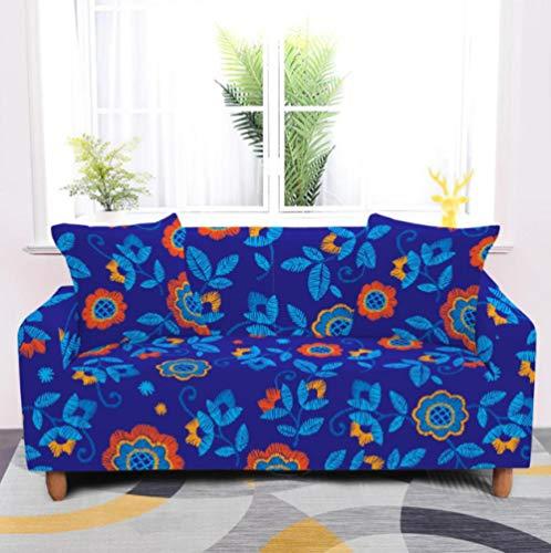 Funda de sofá Antideslizante de Poliéster Spandex Flores Estampado,Azul Funda elástica Antideslizante Protector Cubierta de Muebles para sofá de 4 plazas(1 Funda de Almohada)