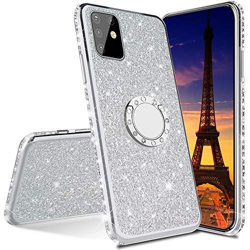 IMEIKONST Custodia per Samsung S21 Plus Glitter Diamanti Cover Scintillante Rotating Ring Stand Silicon Gel TPU Sottile Compatible avec Samsung Galaxy S21 Plus Bling Silver KDL