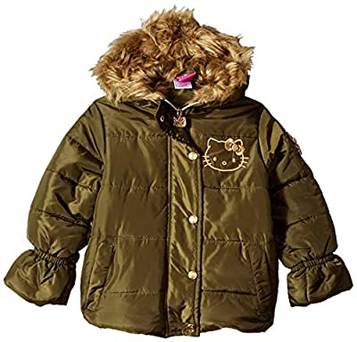Hello Kitty Big Girls Puffer Jacket with Hood, Olive/Gold, 7