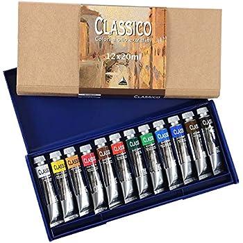 Maimeri - Tubos extrafinos de pinturas al óleo clásicas, 20 ml - Estuche de plástico con 12 colores: Amazon.es: Oficina y papelería