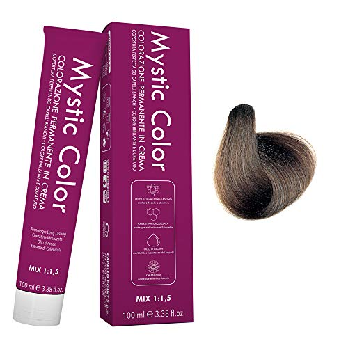 Mystic Color - Crème Colorante Permanente à l'Huile d'Argan et au Calendula - Coloration Longue Durée - Couleur Blond Cendré 7.1 - 100ml