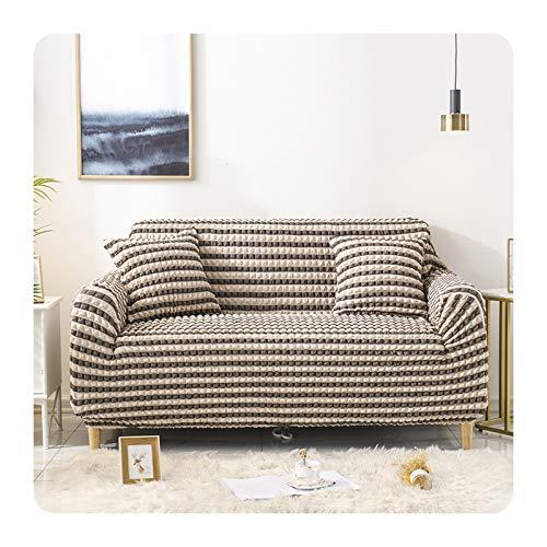 ETWJ Elastischer Sofabezug für Wohnzimmer, einfarbig, kariert, dehnbar, L-Form, für 1–4-Sitzer, 2-Sitzer, 145–185 cm