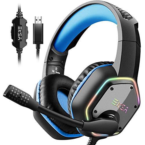 EKSA Gaming Headset mit 7.1 Surround Sound Stereo, PS4 USB Kopfhörer mit Noise Cancelling Mikrofon & RGB Licht, kompatibel mit PC, PS4 Konsole, Laptop (Blau)