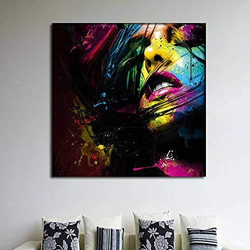 ganlanshu Abstrakte Schönheitsfrauenmalerei auf Leinwand HD buntes Mädchenwandkunstplakat für Hauptdekoration,Rahmenlose Malerei,45x45cm