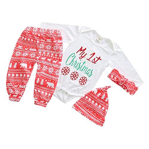 3pcs Maglietta T-shirt Felpe Vestito + Cappelli + Pantalone Da Partito Natalizio per Neonato Ragazzo Prima Infanzia - Bianco Rosa, 90