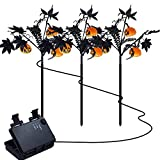 FUNPENY Halloween Decorations, 3 Pack Halloween Pumpkin Garden Stake Lights Outdoor Decorative Lights with 9 Jack-O-Lanterns