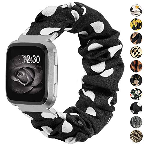 TOYOUTHS Scrunchie Bands Compatible with Fitbit Versa/Versa 2/Versa Lite Special Edition Women Elastic Fabric Strap Pattern Replacement Bracelet Wristband Accessories(Black/White Dots, Large)
