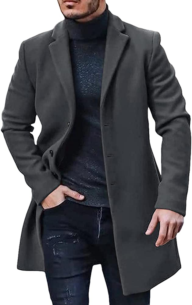 Men's Trench Coat Slim Fit Single Breasted Top Notch quality free assurance Lapel