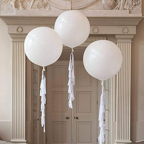 FONBALLOON PARTY (Pack of 3) 36 Inch Innocence Giant White Balloon with Large Handmade Tassel Tail in White for Wedding Decoration