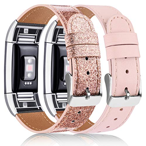 Tobfit 2 Pack Leather Bands Compatible with Fitbit Charge 2 Bands for Women Men, Soft Genuine Leather Accessories Replacement Wristband (Pink Sand & Glistening Rose Gold, 5.5''-8.1'')