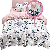 ELLA & KAY Floral Pattern Duvet Cover 100% Cotton, Zipper Closure, Reversible Comforter Cover- Soft Flamingo Pink Bedding Set, 3 Pieces Teens Girls Kids Twin Duvet Cover