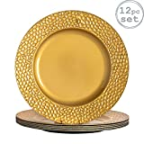 Argon Tableware Round Charger Under Plates in Hammered Gold - 330mm - Pack of 12