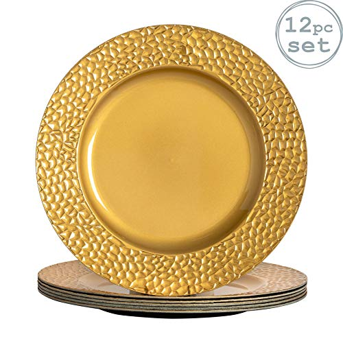 Argon Tableware Juego de bajoplatos Redondos - con Textura - Dorado - 330mm - Pack de 12