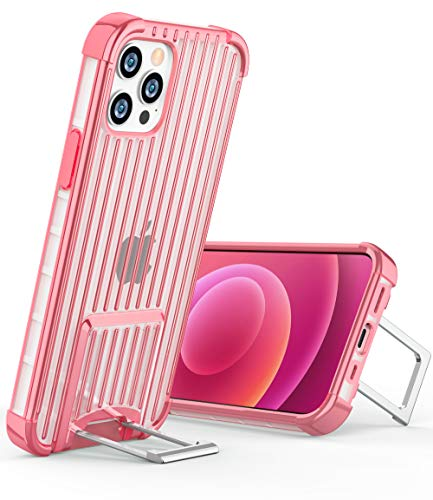 OCYCLONE [Suitcase Series] for iPhone 12 Pro Case/iPhone 12 Case, [Two-Way Stand] Anti-Slip Anti-Scratch Shockproof Protective Soft Phone Case with Kickstand for iPhone 12/12 Pro 5G 6.1 inch - Pink