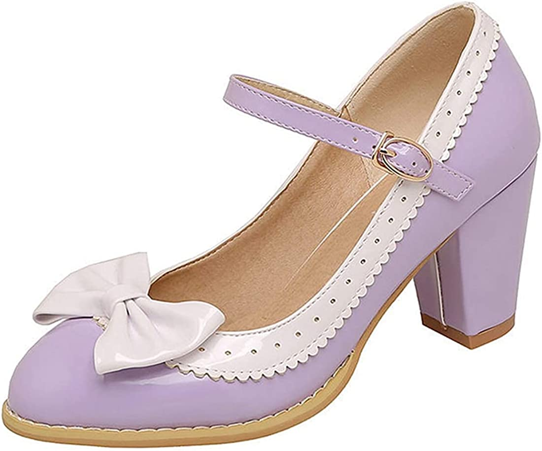 Women's Daily Party Ankle Strap Mary shopping Cute Heel Bowtie Janes High gift