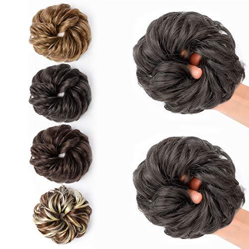 JessLab Postizos de Pelo, 2 Pcs Hair Bun Scrunchie Messy Bun