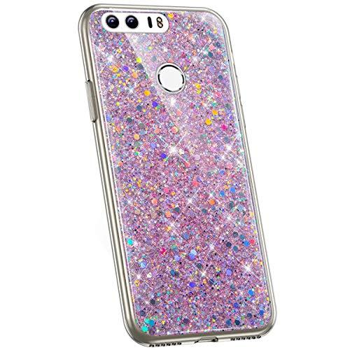 Jinghuash Kompatibel mit Huawei Honor 8 Hülle Glitzer Kristall Glänzend Strass Diamant Silikon Schutzhülle Ultra Dünn Crystal Clear TPU Silikon Handyhülle Tasche Case-Rosa