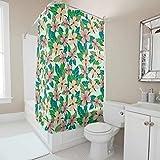 shaoziyun Flowers and Leaves Witzig - Cortina de ducha de tela 100% poliéster, para interiores, para baño, lavable a máquina, accesorio de baño para el hogar, dormitorio, salón con gancho incluido, poliéster, blanco, 180 x 200 cm