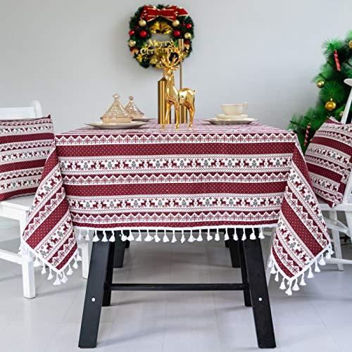 DJUX Mantel navideño Año Nuevo decoración navideña Regalo Zhuo Cubierta Mantel paño algodón Lino 140x200cm