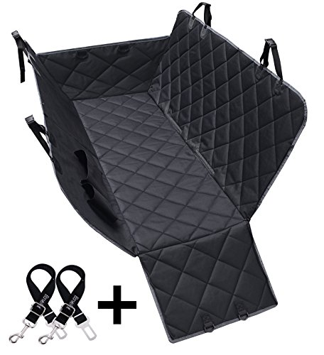 Dog Seat Covers, 600D Waterproof Pet Car Seat Covers with 2 Dog Seat Belts & Zipper & Pocket - Nonslip Back Seat Cover Cat Dog Hammock Convertible Extra Side Flaps Best for Cars Trucks Suvs