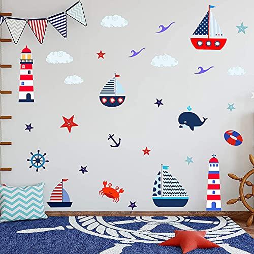ANHUIB 30 pegatinas multicolor para cuarto de baño, pegatinas de pared para habitación infantil, diseño de animales marinos