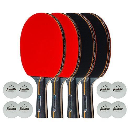 Franklin Sports Table Tennis Paddle Set - Official Size Rubber Ping Pong Paddle - Pro Carbon Core - 4 Paddles & 8 Three Star Ping Pong Balls