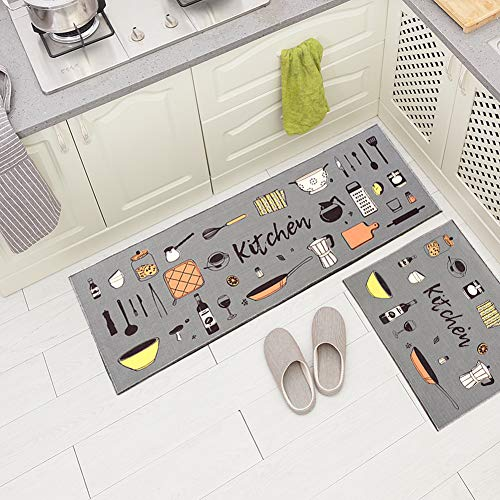 Carvapet 2 Pieces Non-Slip Kitchen Rug TPR Non-Skid Backing Mat for Doorway Bathroom Runner Rug Set, Grey Kitchen Design (17