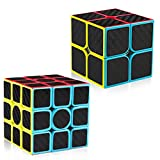 D-FantiX Carbon Fiber 2x2 3x3 Speed Cube Set, 2x2x2 3x3x3 Cube Bundle Pack Magic Cube Puzzle Toys Kids