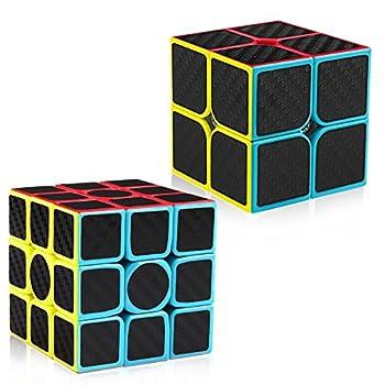 D-FantiX Carbon Fiber 2x2 3x3 Speed Cube Set 2x2x2 3x3x3 Cube Bundle Pack Magic Cube Puzzle Toys Kids