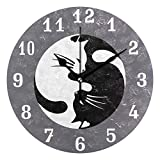 SEULIFE Wall Clock Yin Yang Tai Chi Cat Animal, Silent Non Ticking Clock for Kitchen Living Room Bedroom Home Artwork Gift