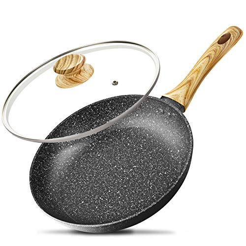 10 Inch Frying Pan with Lid, Nonstick Frying Pan with Lid, Frying Pan with 100% APEO & PFOA-Free Stone-Derived Non-Stick Coating, Nonstick Granite Skillets, Induction Compatible