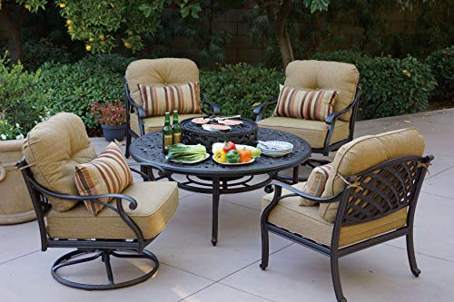 Darlee Nassau Cast Aluminum 5 Piece Chat Set 52'' Round Tea Table with BBQ Pit and Ice Bucket Insert, Antique Bronze