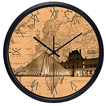 The World Time Zone Clock Brand Hotel Lobby Clock Roma Number Map Clock-Paris_Louvre_10_inch
