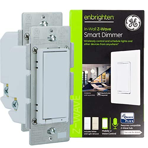 GE Enbrighten Z-Wave Plus Smart Dimmer, Full Dimming, in-Wall White & Light Almond Paddles, Repeater/Range Extender, Zwave Hub Required, Works with Ring, SmartThings, Wink, Alexa, 2-Pack, 54558