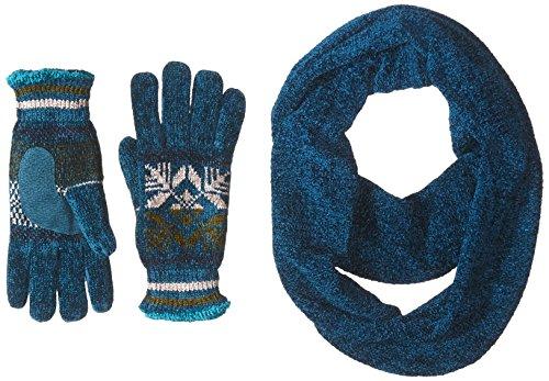 Isotoner - Juego de bufanda y guantes de chenilla para mujer