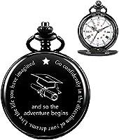 懐中時計-パーソナライズされたレーザー刻印懐中時計。カスタム懐中時計-卒業式ギフト+ギフトボックス(ブラックホワイト)