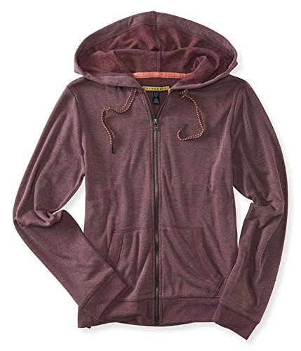Aeropostale Womens Elevated FZ Hoodie Sweatshirt, Red, Large