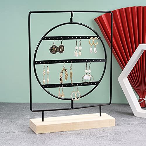 Xzbnwuviei, espositore per orecchini in ferro battuto, con base in legno, supporto in metallo, per gioielli, orecchini, decorazione da tavolo